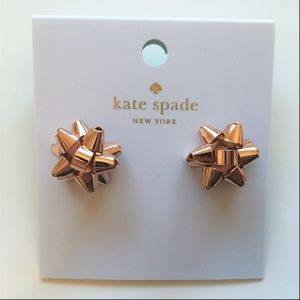 SALE Kate Spade Christmas Bow Earrings Rosegold